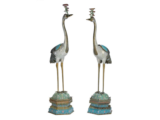 A pair of massive cloisonné enameled metal standing cranes 20th Century