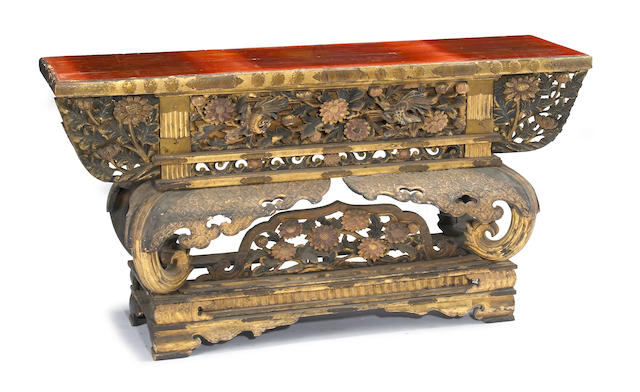 A gilt lacquered wood 2-section altar table