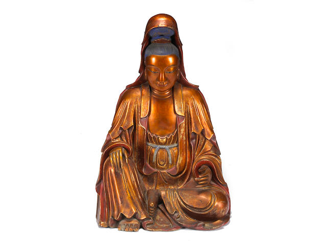 A gilt and polychrome lacquered wood seated Guanyin Late Qing