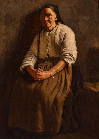 Louis Charles Moeller (1855-1930) Old woman 54 1/4 x 36 in.