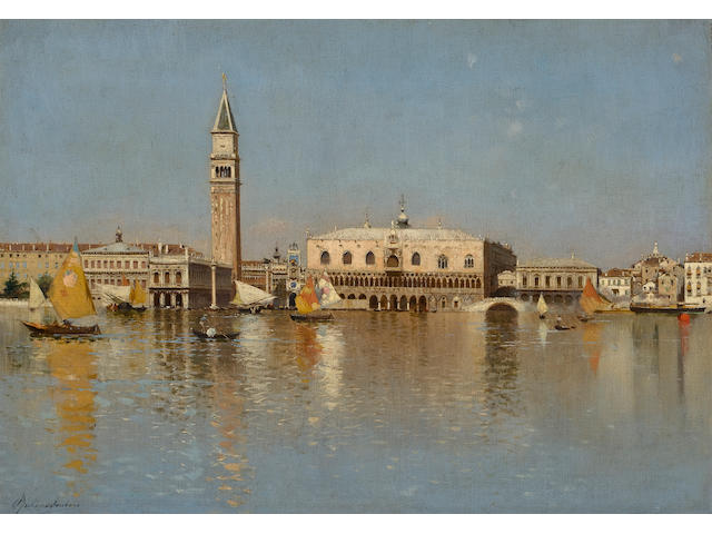 (n/a) Rubens Santoro (Italian, 1859-1942) The Grand Canal, Venice 15 1/4 x 20 1/2in (38.7 x 52cm)