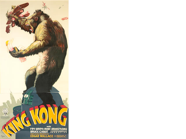"A reproduction three-sheet poster from the 1933 film ""King Kong,"" 1990s"