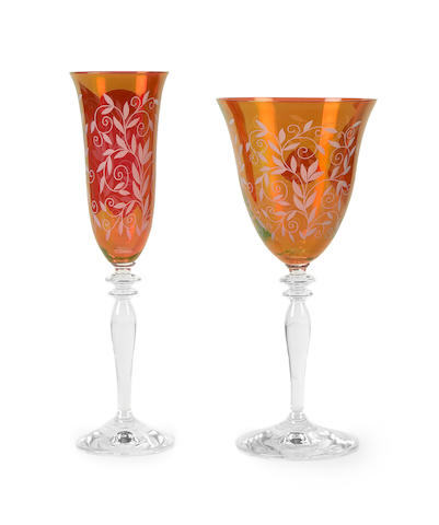 A suite of acid etched ruby glass stemware