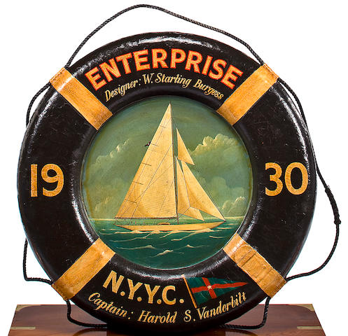 A 20th century commemorative life ring for the 1930 America's Cup defender ENTERPRISE 29-1/2 in. (74.93 cm.) diameter.