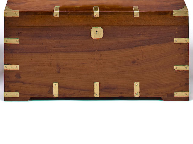 A 20th century brass bound mahogany campaign chest 30-3/4 x 16-1/2 x 15-1/2 in. (77.98 x 41.91 x 39.37 cm.)