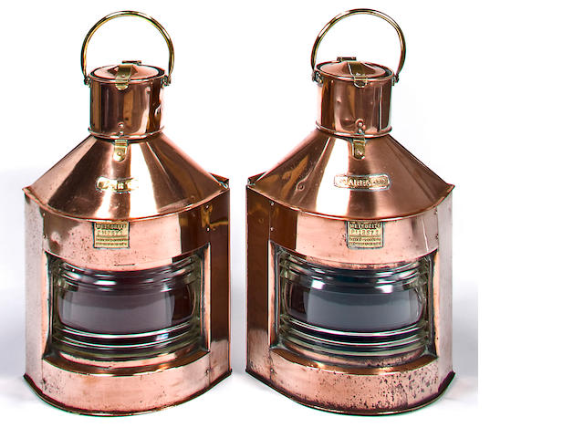 A pair of 20th century copper and brass running lights, 26 x 15 in. (      cm.) 2