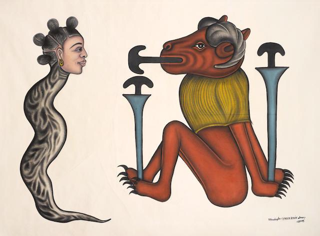 Cyprien Tokoudagba (Beninese, born 1939) 'Houéda vodoun dangbé' unframed