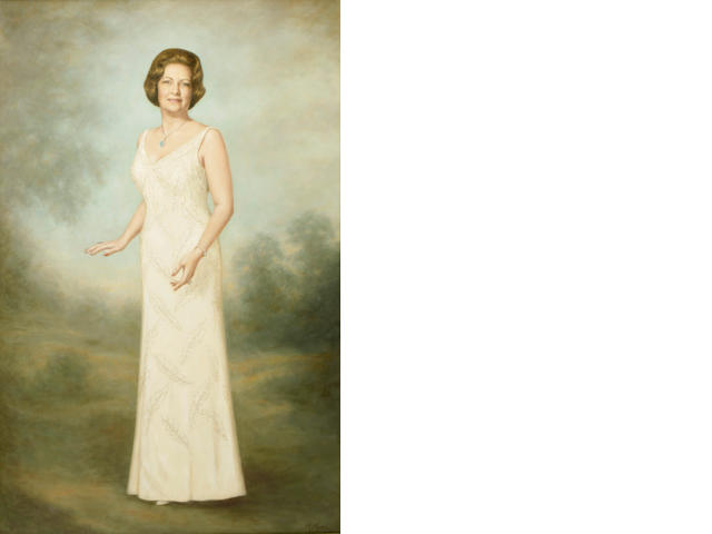 M. Moran (20th century) A portrait of Elizabeth Vincent, full-length 60 x 37 3/4in