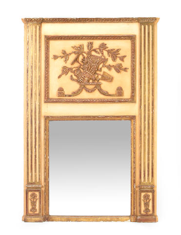 A French painted and parcel giltwood trumeau mirror