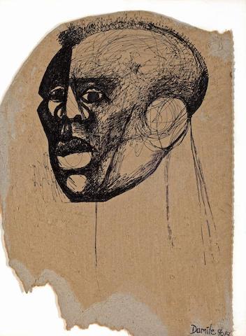 Dumile Feni-Mhlaba  (Zwelidumile Mxgazi) (South African, 1942-1991) Head study 16 x 10 5/8in (40.6 x 27cm)