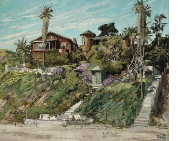 Roger Edward Kuntz (American, 1926-1975) Old Houses, Laguna 30 x 36in