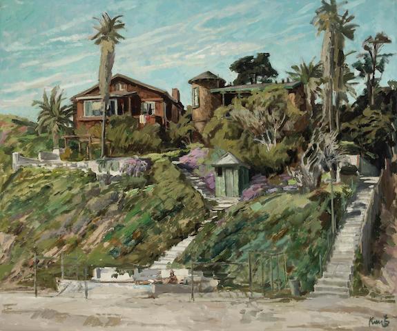 Roger Edward Kuntz (American, 1926-1975) Old Houses, Laguna 30 x 36in