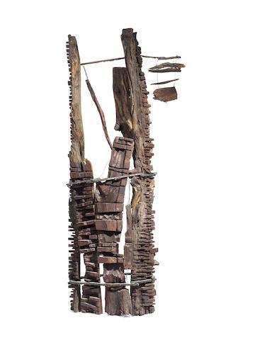 El Anatsui (Ghanaian, born 1944) Sculpture I 70 7/8 x 23 5/8 x 13 3/4 in (180 x 60 x 35 cm)