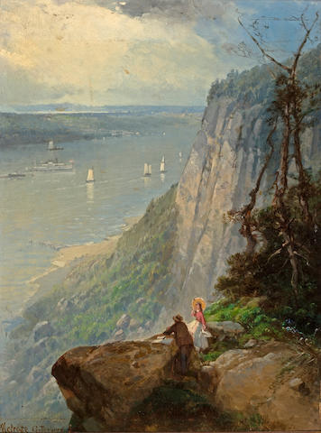 (n/a) Andrew Melrose (American, 1836-1901) View of the Hudson River from Guttenberg, NJ 12 1/2 x 9 1/2in