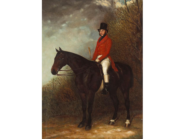 Attributed to Richard Barrett Davis, RBA (British, 1782-1854) A portrait of a gentleman on his dark chestnut hunter in a landscape 27 x 20in