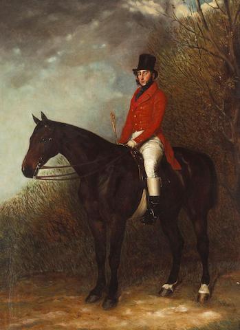 Attributed to Richard Barrett Davis, RBA (British, 1782-1854) A portrait of a gentleman on his dark chestnut hunter in a landscape 27 x 20in