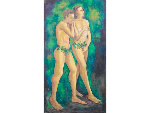 Aina Onabolu (Nigerian, 1882-1963) Adam & Eve 1954 41 1/8 x 23 7/16in (104.5 x 59.5cm)