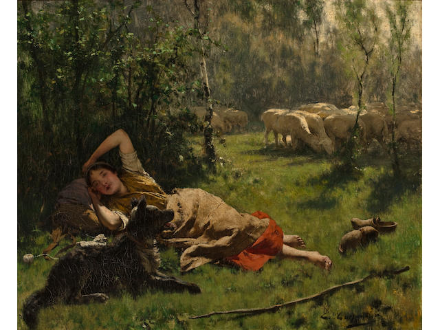 Evariste Carpentier (Belgian, 1845-1922) The noon hour 23 1/4 x 28 1/4in (59 x 71.7cm)