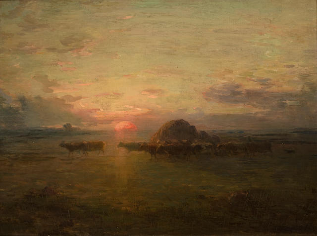 (n/a) François Millet (French, 1851-1917) Sunset over the fields 18 x 26in (45.7 x 66cm)