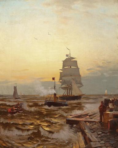 (n/a) Heinrich Petersen-Angeln (German, 1850-1906) Off Ostend pier 37 x 22in (94 x 55.9cm)