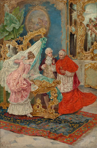 Giulio Rosati (Italian, 1858-1917) The christening 15 x 10in (38.1 x 25.4cm)