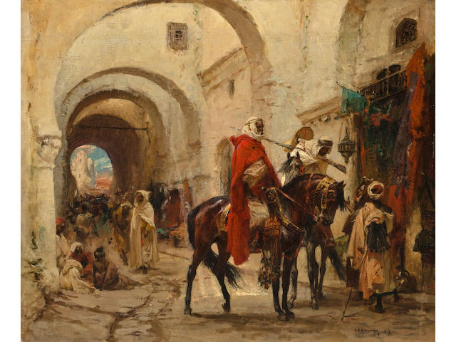 Henri-Emilien Rousseau (French, 1875-1933) A bazaar in Egypt 18 1/4 x 22in