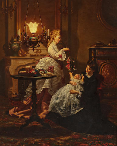 (n/a) Pieter Willem Sebes (Dutch, 1830-1906) Amusing the baby 32 x 25 3/8in (58.4 x 64.5cm)