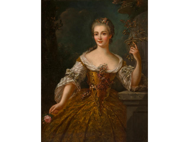 Circle of Robert Levrac-Tournières (Caen 1667-1752) A portrait of a lady, thought to be Madame de Vaudrieres 42 1/2 x 32in