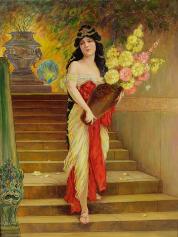 Lillian Reubena Deane (American, 1881-1972) Odalisque descending the staircase 24 x 18in