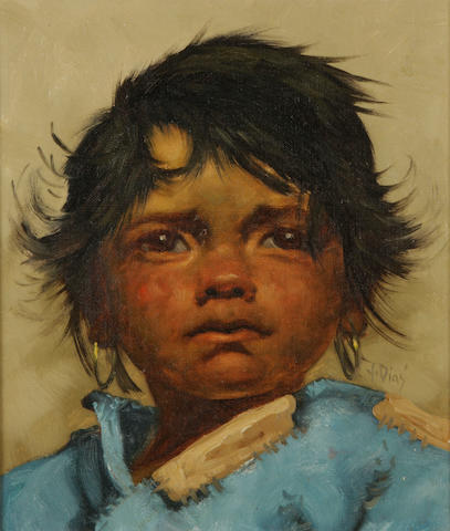 Y. Dias (20th century) Portrait of a Native American child 12 1/8 x 10 1/8in