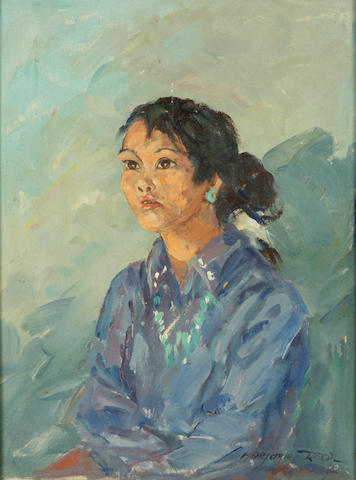Marjorie Jane Reed (American, 1915-1996) Portrait of a Native American woman 16 x 12in