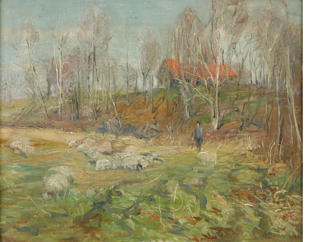 A. Bryan Wall (American, 1861-1935) Sheep and red tile roof house 16 x 20in