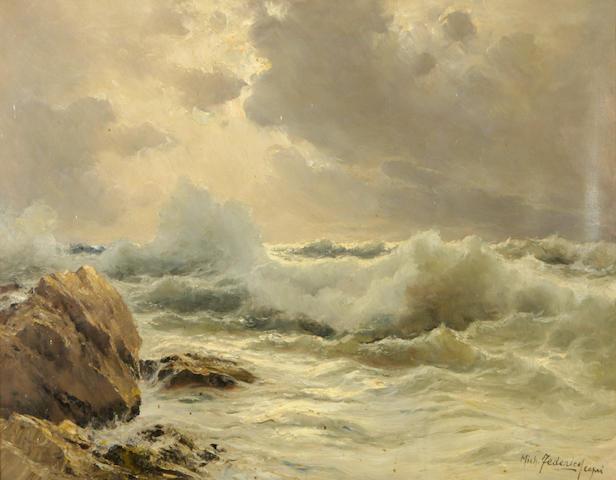 Michele Federico (Italian, 1884-1966) The coast of Capri 22 x 28in