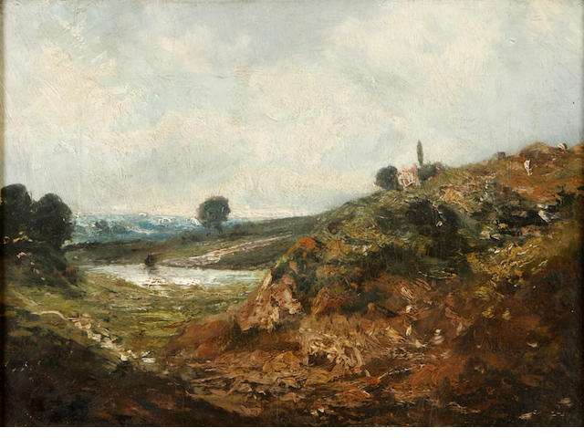 Manner of John Constable, R.A. A hilly windswept landscape 8 3/4 x 11 3/4in