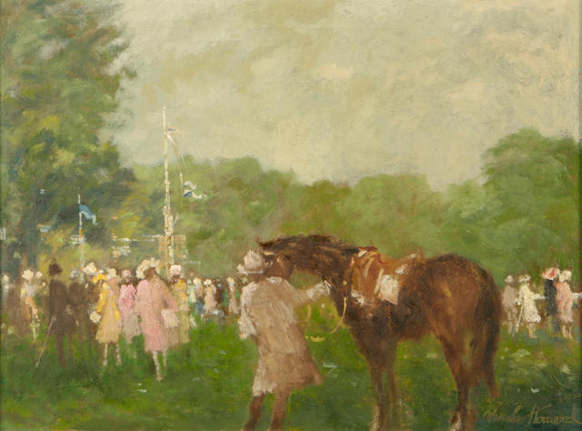 Charles Horwood (British, 20th Century) A day a the races 12 x 16in