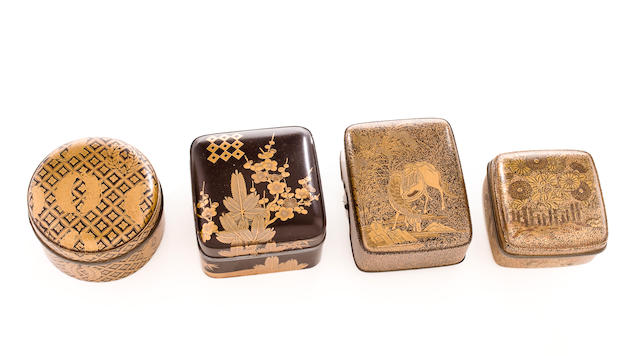 THREE SMALL LACQUER INCENSE BOXES (KOGO) AND A SMALL LACQUER BOX 17th-19th century