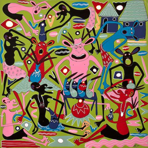 George Lilanga di Nyama (Tanzanian, 1934-2005) Vijana Wanafanyiwa dawa ili safari yao ifanikiwe 39 3/8 x 39 3/8in (100 x 100cm) unframed