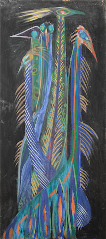 Modou Niang (Senegalese, born 1945) Peacocks 63 x 28 9/16in (160 x 72.5cm)