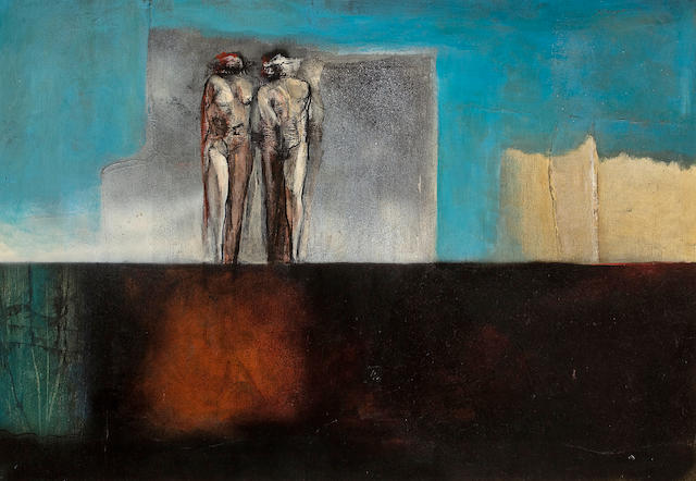 Karin Jaroszynska (South African, born 1937) Two figures over an abyss 27x39 in