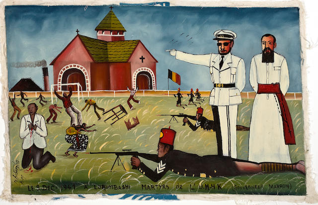 Tshibumba Kanda Matulu (Congolese, born 1947) Lubumbashi Martyrs 9 December 1941 15 x 23 3/4 in (38.1 x 60.3 cm) unframed