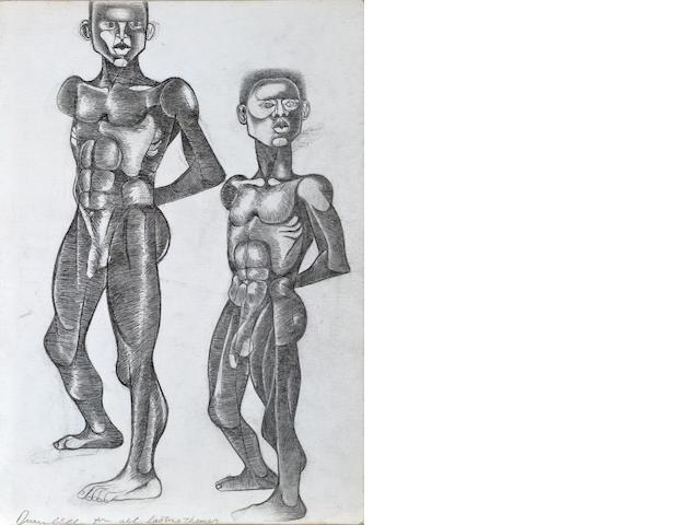 Dumile Feni-Mhlaba  (Zwelidumile Mxgazi) (South African, 1942-1991) Two men, ***circa?? 20 x 14in (50.8 x 35.5cm) unframed