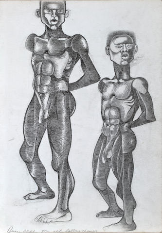 Dumile Feni-Mhlaba  (Zwelidumile Mxgazi) (South African, 1942-1991) Two men, ***circa?? 20 x 14in (50.8 x 35.5cm) unframed