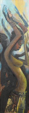 Ben (Benedict Chukwukadibia) Enwonwu, M.B.E (Nigerian, 1917-1994) Dancing girl 48 1/4 x 12 5/8in (122.5 x 32cm)