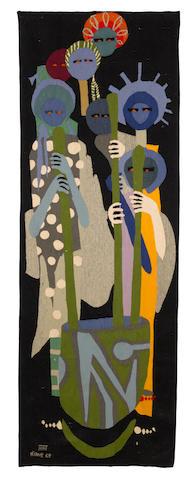 Modou Niang (Senegalese, born 1945) Woman pounding 83 7/16 x 29 1/2in (212 x 75cm)