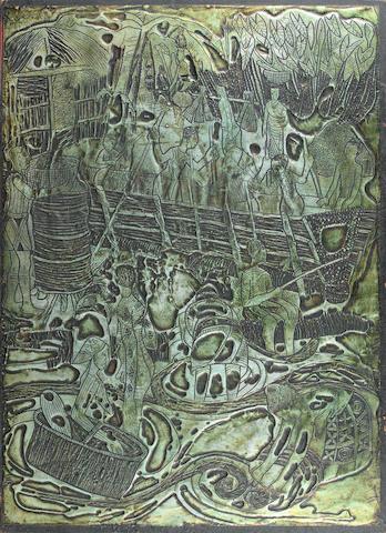 Bruce Onobrakpeya (Nigerian, born 1932) Benin village scene 27 9/16 x 19 11/16in (70 x 50cm) unframed