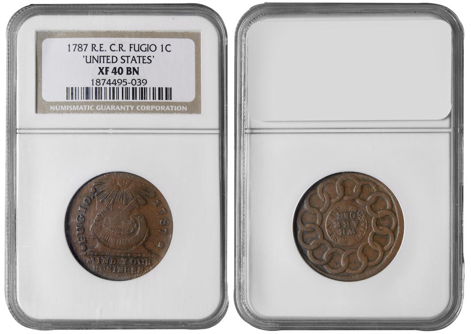 1787 Fugio Cent, Club Rays, Rounded Ends, UNITED STATES XF40 NGC