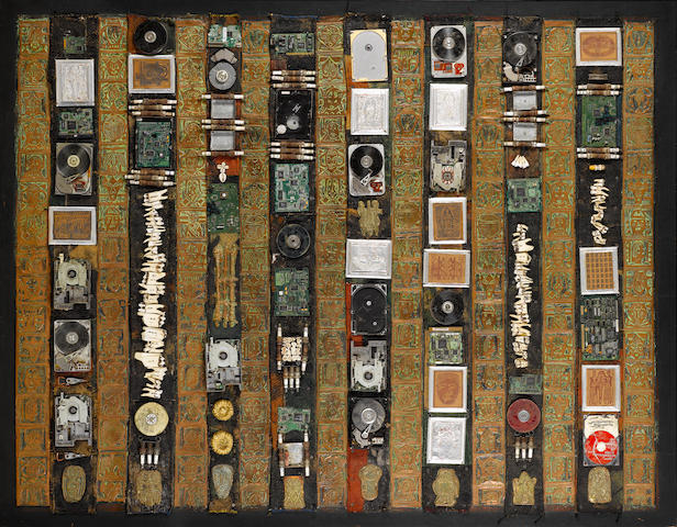 Bruce Onobrakpeya (Nigerian, born 1932) Environmental regeneration 60 1/4 x 77 3/16in (153 x 196cm)