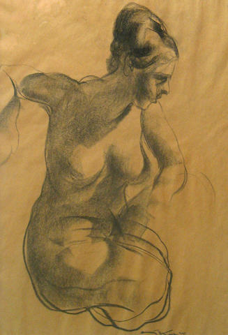 Kosa, Nude study, charcoal/paper