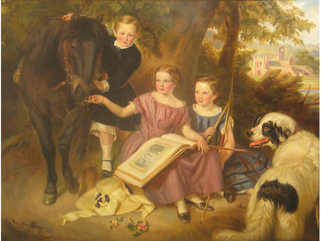 English School A portrait of Harold, Frances and Richard Nickols 28 x 36in