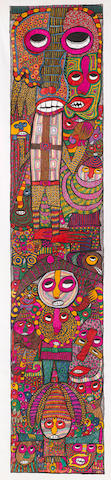 Chief Zacheus Olowonubi Oloruntoba (Nigerian, born 1934) Figures 126 3/4 x 25 3/8in (322 x 64.5cm) image size unframed and unstretched